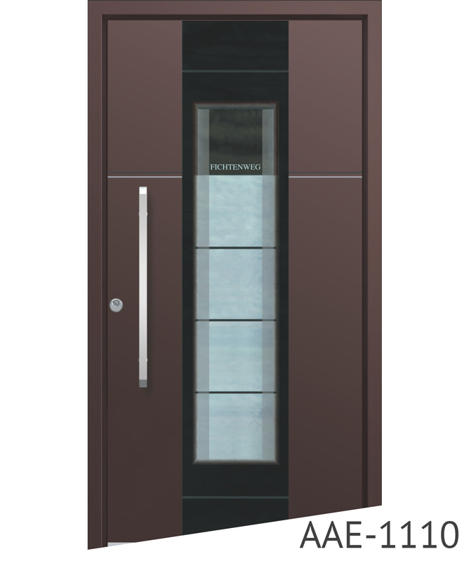 Brown aluminium entrance doors