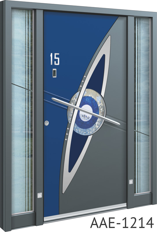 Blue insert aluminium entrance doors