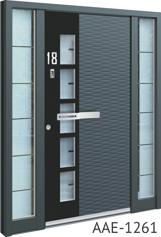 Grey aluminium entrance door