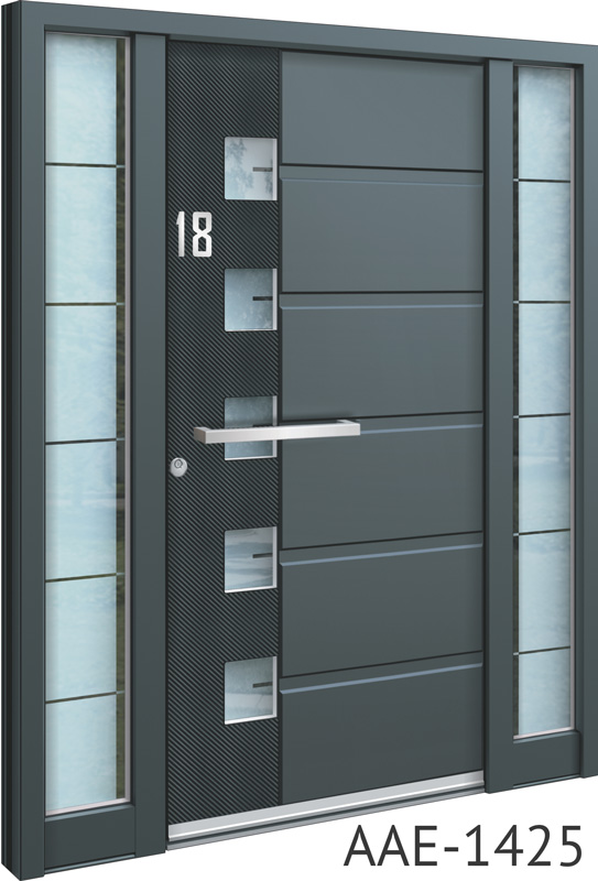 Grey aluminium front entrance door