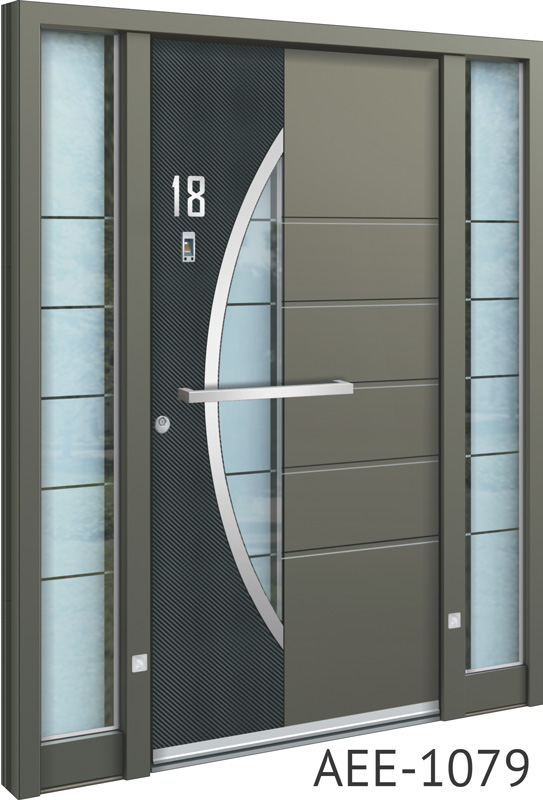 Carbon silver aluminium entrance doors