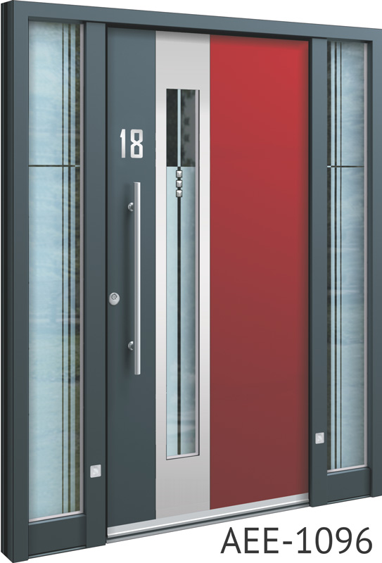 Red insert aluminium front entrance doors