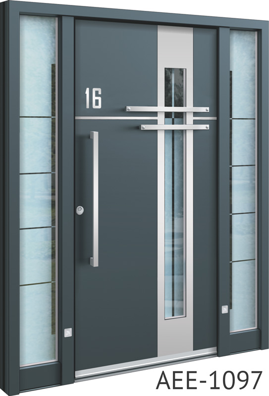 Grey front entry doors