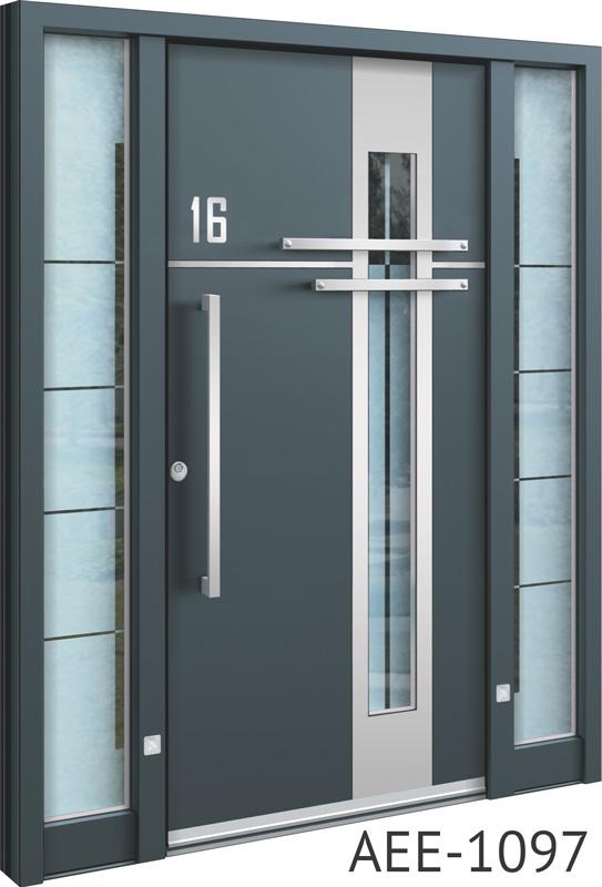 Grey front entry doors