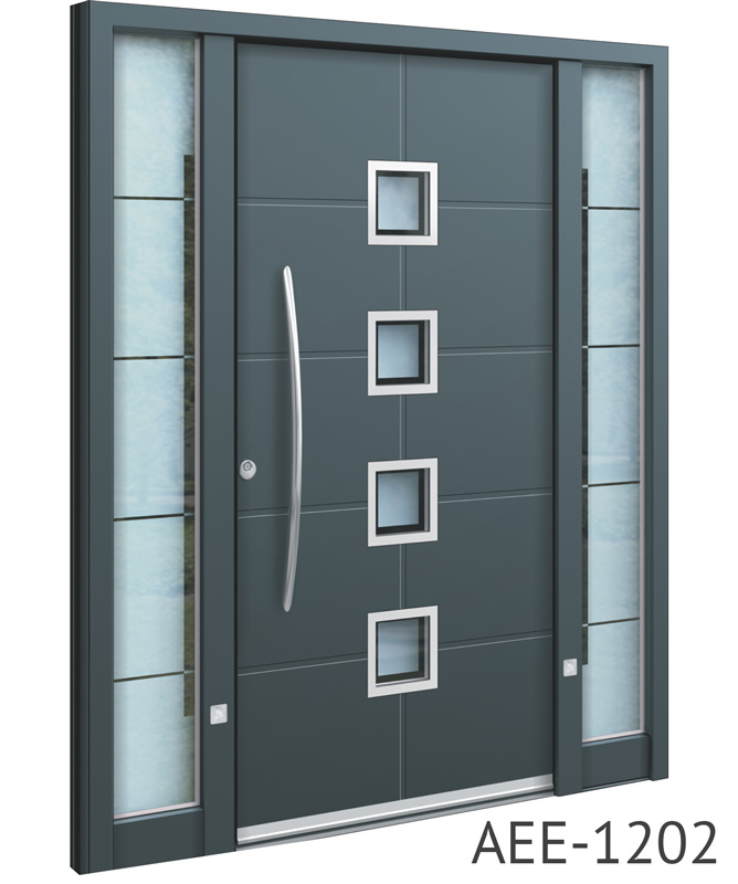Dark grey aluminium front entry door