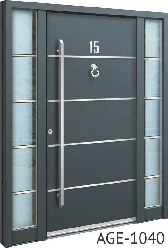 Silver line grey aluminium entrance doors