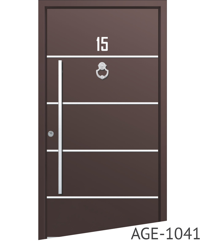 Brown aluminium entry doors