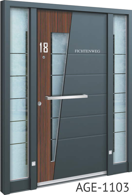 Grey and brown glass insert aluminium entry door