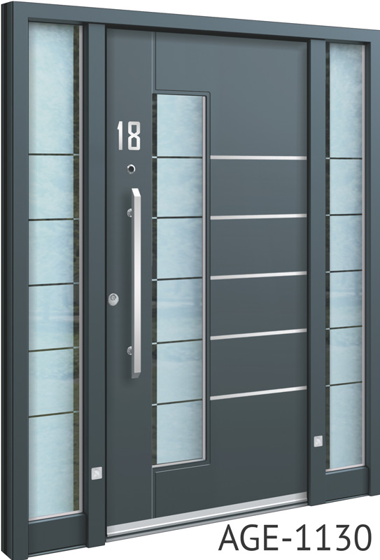 Grey glass insert aluminium entry doors