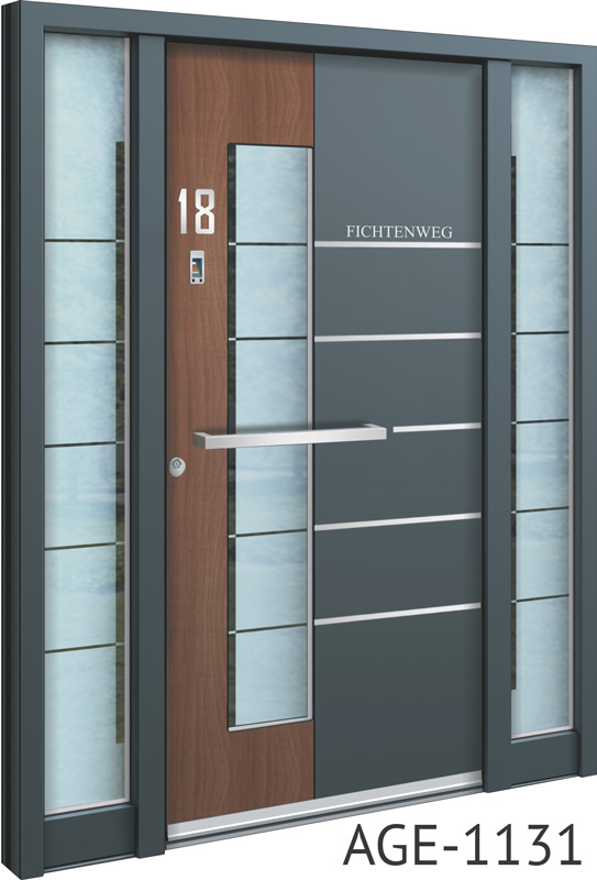 Grey and brown glass insert aluminium entry doors