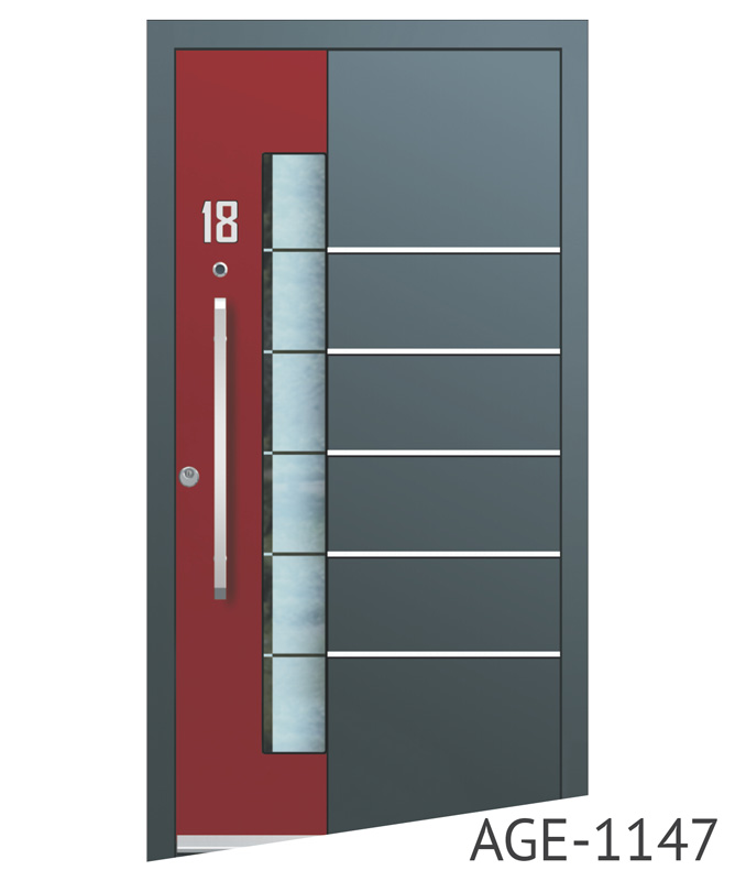Dark grey and red contemporary front doors