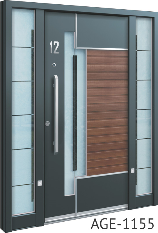 Grey and brown wood insert aluminium entry doors