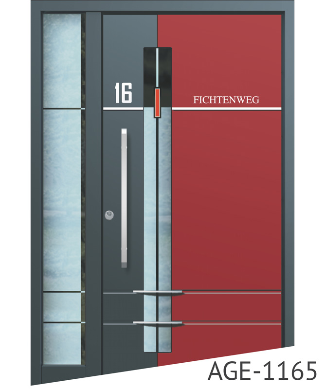 Dark grey and red contemporary aluminium front doors