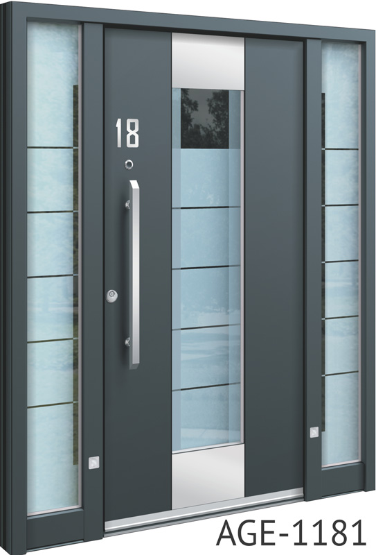 Grey contemporary aluminium front door with glass insert