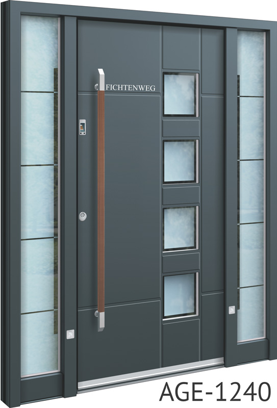 Brown handle grey contemporary aluminium front door