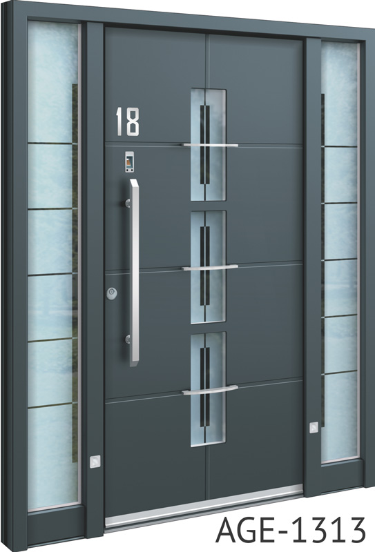 Silver handle grey contemporary aluminium front door