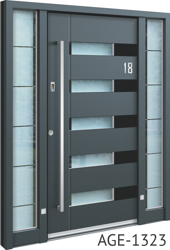 Grey and black contemporary aluminium front door with horizontal glass insert