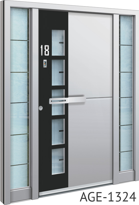 Silver aluminium entrance doors