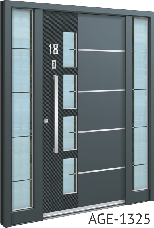 Grey and black contemporary bespoke aluminium front door