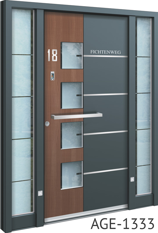 Brown and grey contemporary bespoke aluminium front door