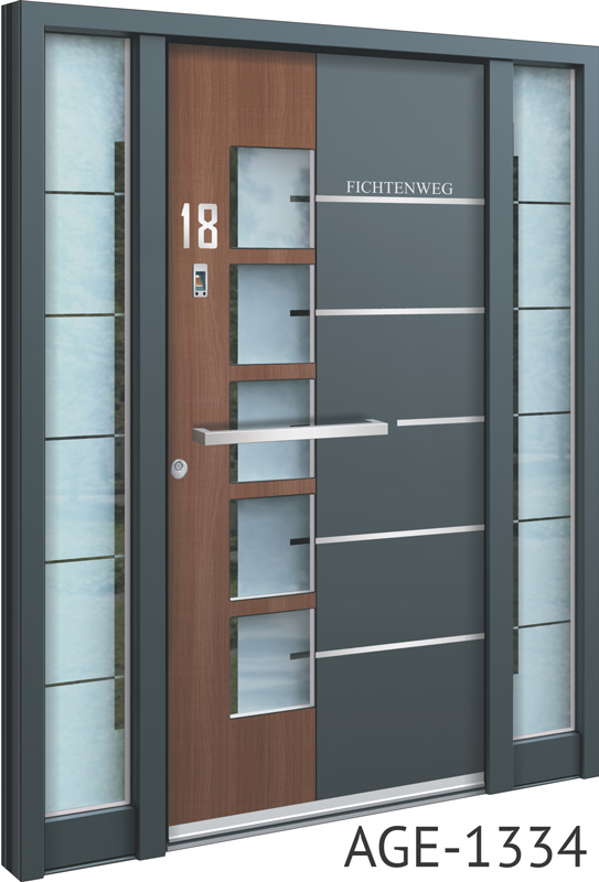 Brown and grey contemporary bespoke aluminium front doors