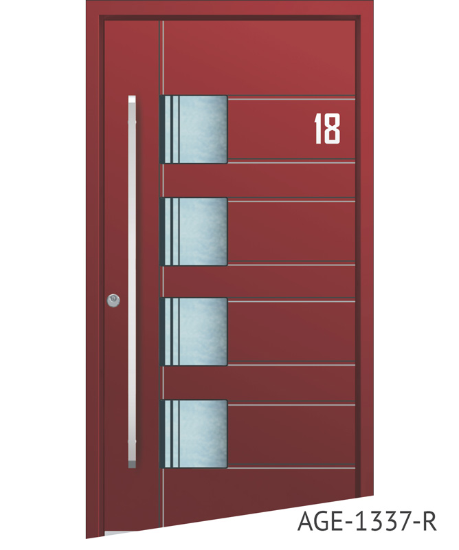 All red contemporary aluminium door