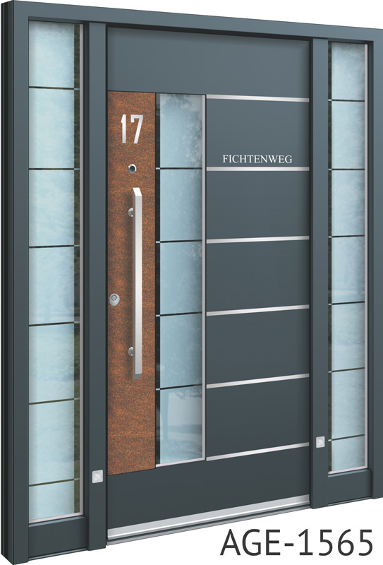 Grey contemporary front door UK with wood and glass inserts