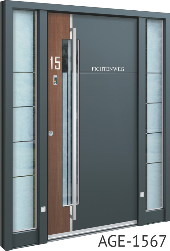 Grey contemporary front doors UK with wooden inserts
