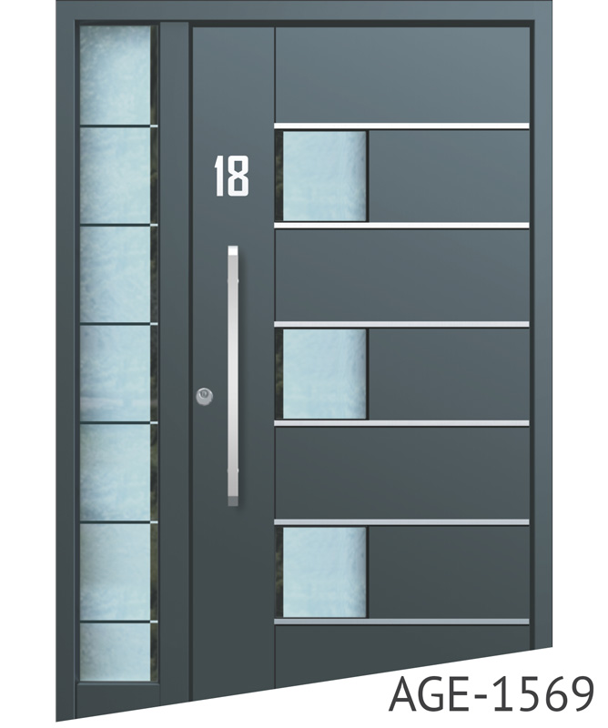 Anthracite aluminium entrance doors