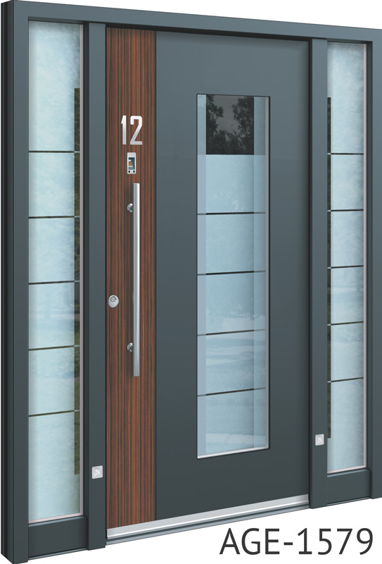 Grey contemporary front doors UK with wood and glass inserts & Spitfire S-500 Series Beautifully Engineered Aluminium Entrance Doors