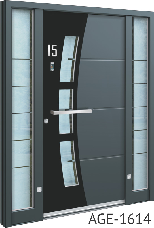 Black and grey contemporary front door UK with glass
