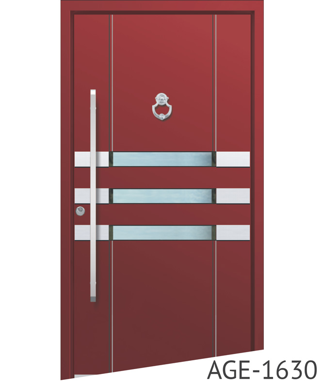 Bright red aluminium entrance doors