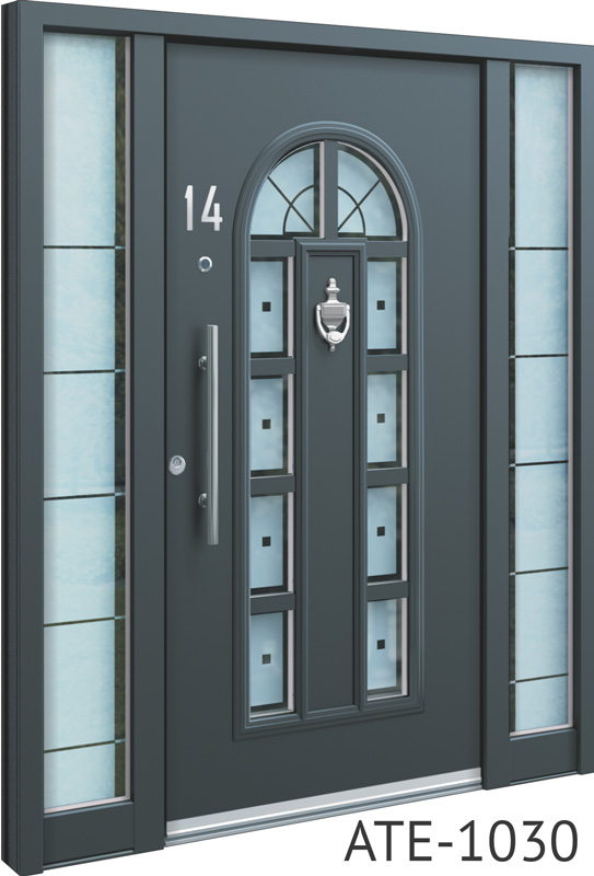 All grey bespoke front doors with glass inserts