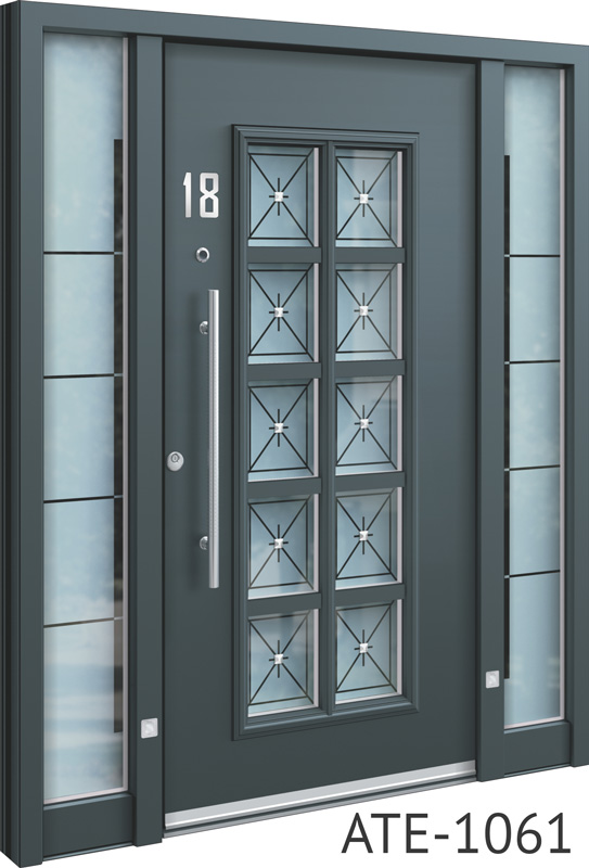 All grey bespoke front door with glass inserts