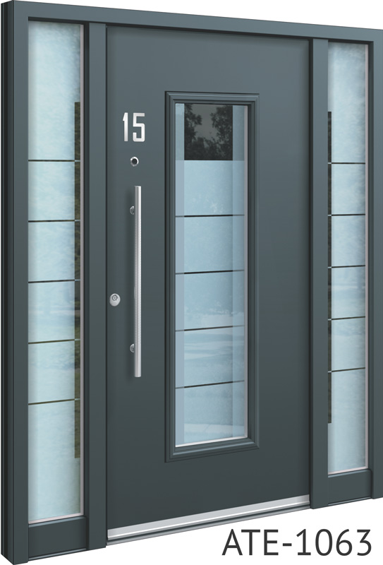All grey bespoke aluminium front doors with glass inserts