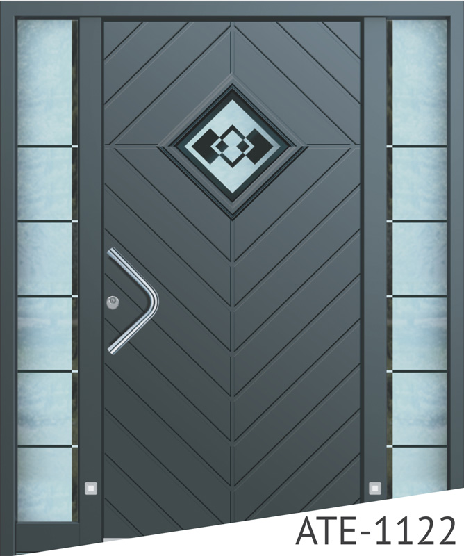 Patterned anthracite aluminium entry doors